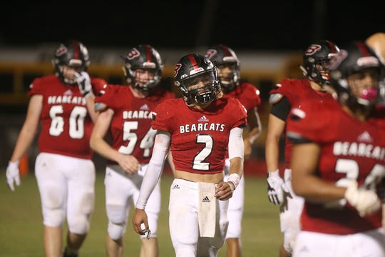 The Ballinger Bearcats walk off the field during their game Friday, Oct. 5, 2018, against Anson.