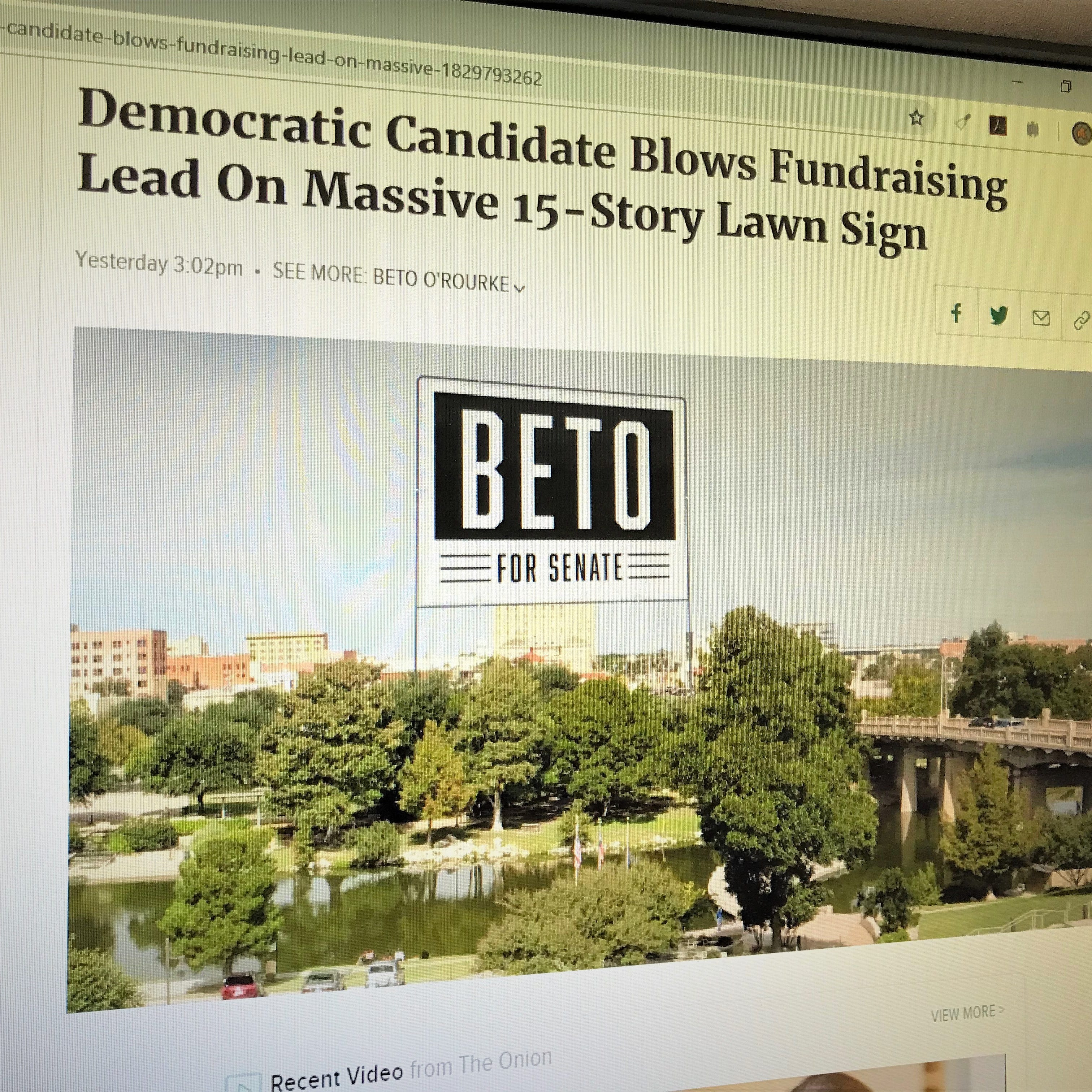 Image of San Angelo featured in fake Beto O'Rourke headline on satire site The Onion