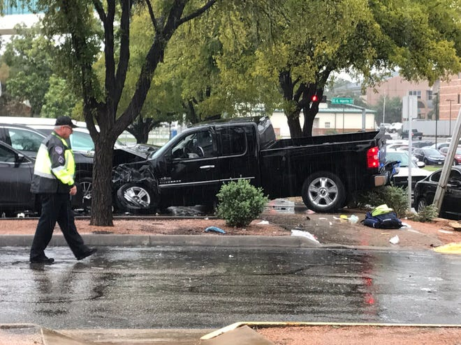 A black pickup crashed into the parking lot of the Shannon Clinic at 102 S. Magdalen St. on Wednesday, Oct. 17, 2018.
