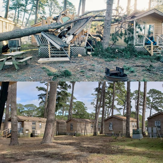 Before and after images of Cherrystone Family Campground, where damages from Tropical Storm Michael were repaired with help from the community.