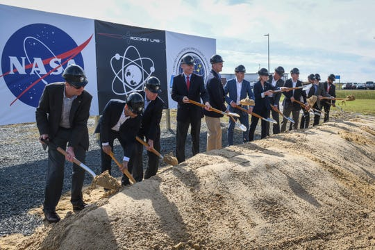 Space industry and political leaders break ground at the new Rocket Lab launch complex on NASA's Wallops Island on Wednesday, Oct 17, 2018.