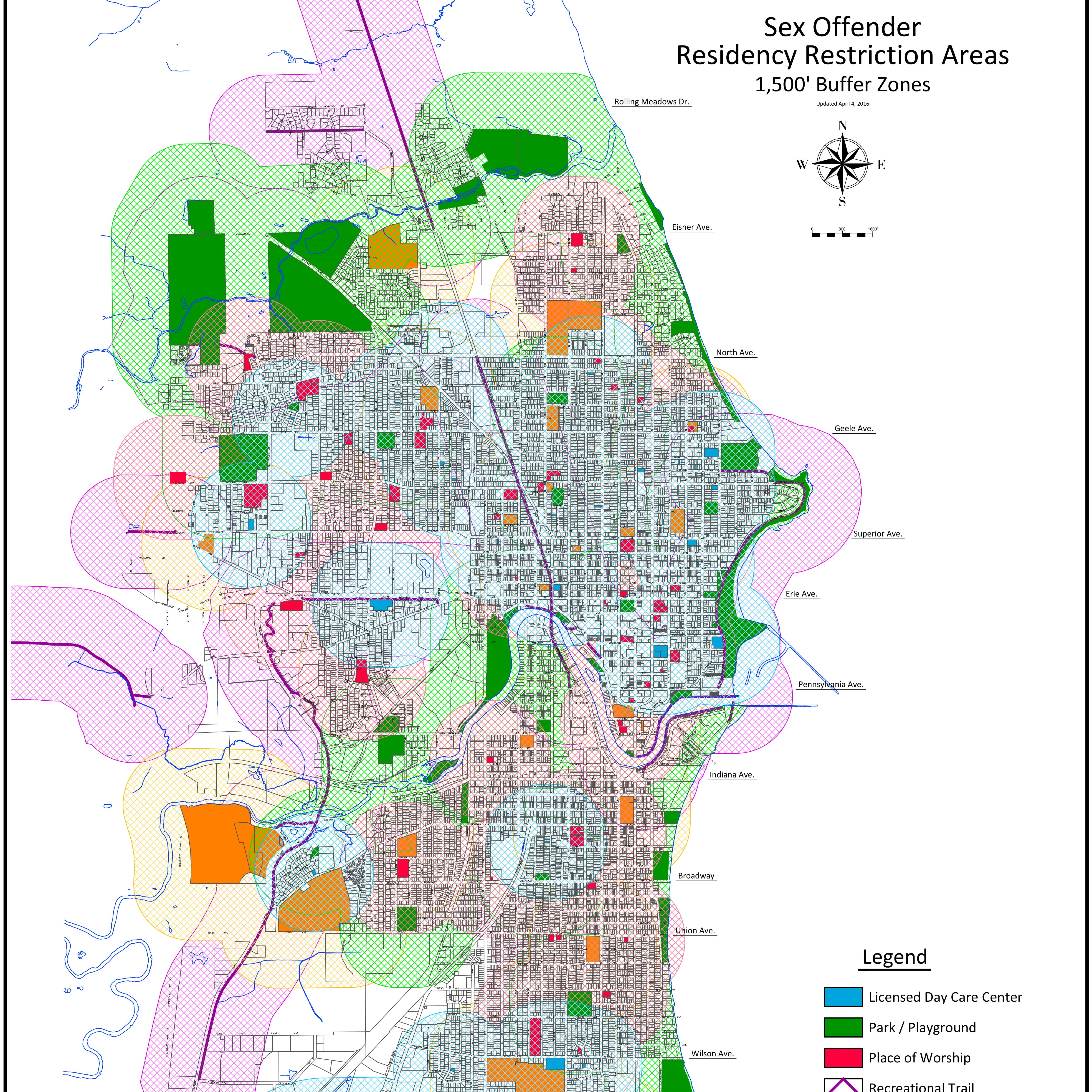 Sheboygan's Sex Offender Residency Restriction Areas map shows buffer zones around schools, day cares and other places from which sex offenders must live at least 1,500 feet. At 1,500 feet, there are few places where offenders could live to satisfy the distance requirement.
