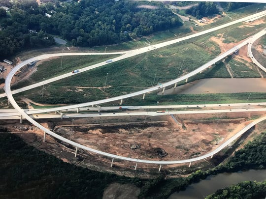 An aerial photo of the I-49 at I-220 interchange. This photo shows Segment K Phase 2, which also included the reconstruction of I-220 between N. Market St. and Hilry Huckaby III Ave.