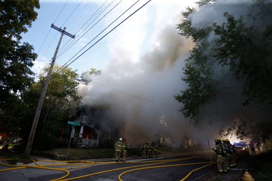 Firefighters respond to a blaze in central Springfield.