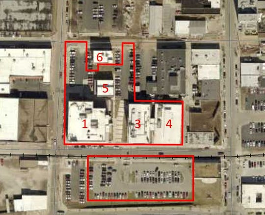 A map of the Brick City properties. Missouri State University plans to buy buildings 1, 3, 4 and 5 with the adjacent parking. It has the option of buying building 6 in the near future.