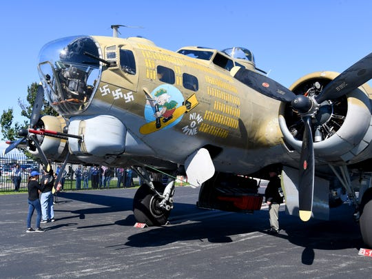 A World War II B-17 Flying Fortress bomber, named Nine-O-Nine, rests on the tarmac after arriving at the Shenandoah Valley Regional Airport as part of the Wings of Freedom Tour on Wednesday, Oct. 16, 2018. The tour brings four period aircraft to airport until noon Friday when they depart.