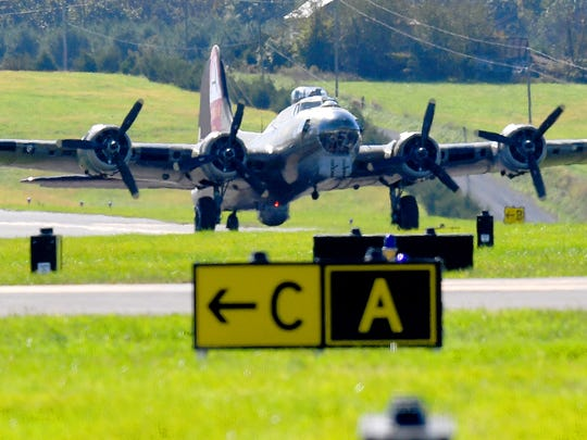 A World War II B-17 Flying Fortress bomber, named Nine-O-Nine, taxis in from the runway after landing at the Shenandoah Valley Regional Airport as part of the Wings of Freedom Tour on Wednesday, Oct. 16, 2018. The tour brings four period aircraft to airport until noon Friday when they depart.