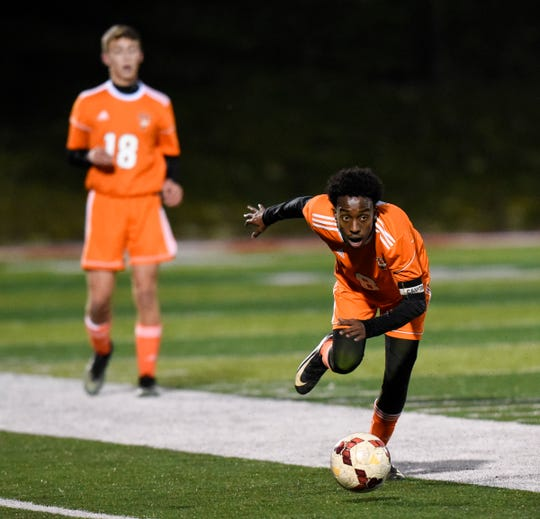 Tech's Abdalla Hassan gets control of the ball during the first half of the Tuesday, Oct. 16, game at Husky Stadium in St. Cloud.