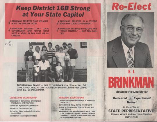 A B.J. Brinkman campaign brochure.
