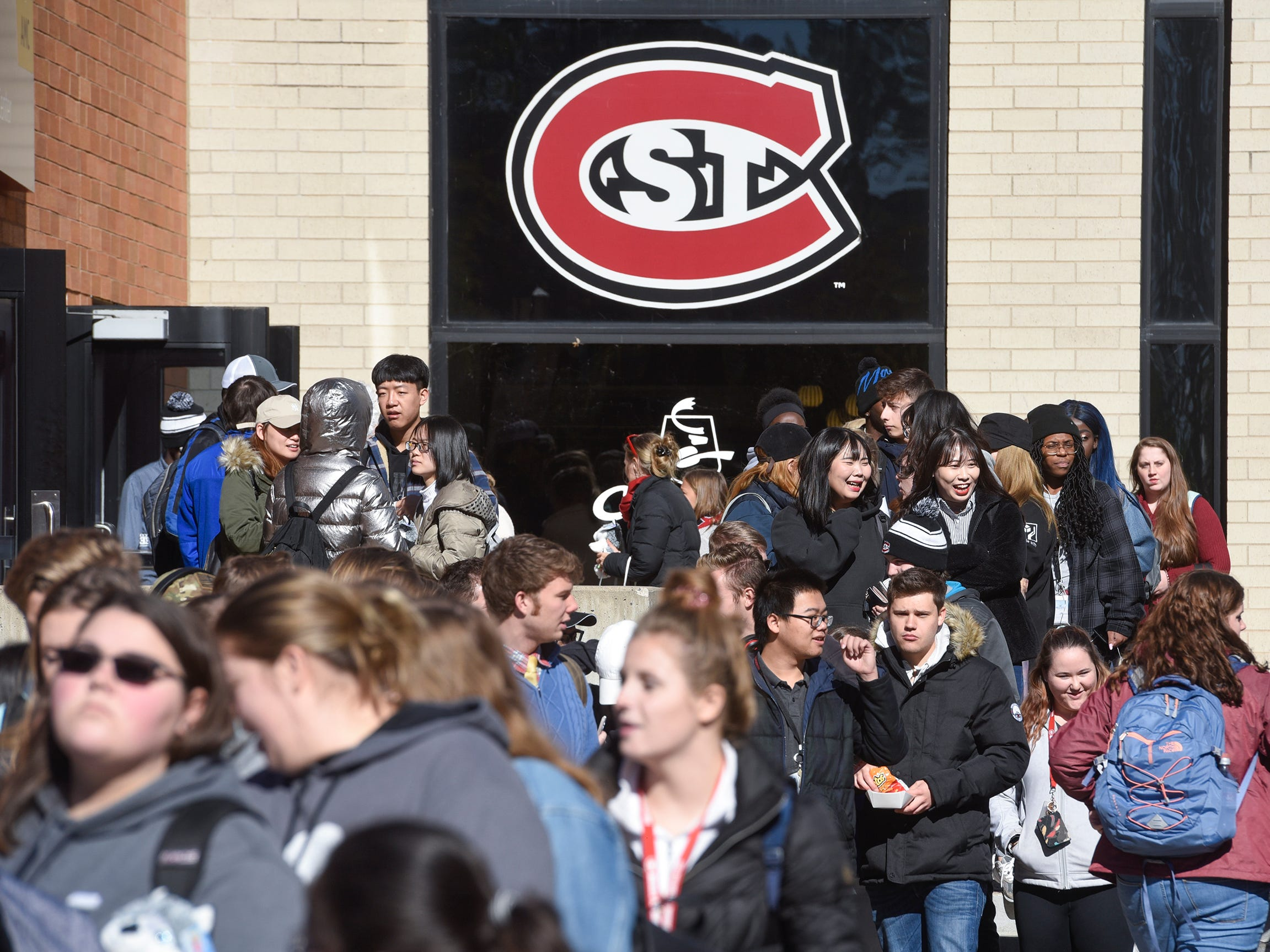 Students fill the Atwood Memorial Center Mall Wednesday, Oct. 17, at St. Cloud State University for homecoming kick-off events.