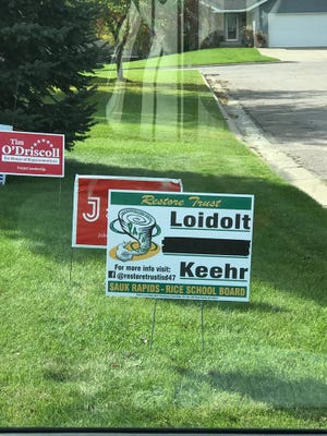 A photo of the updated campaign signs after Loidolt and Keehr cut ties with Lindeman.