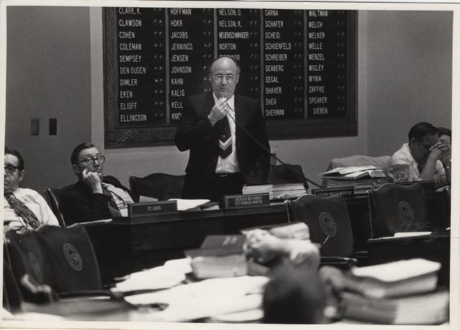 Rep. B. J. Brinkman speaks on the House floor. He served as a legislator from 1962-86.