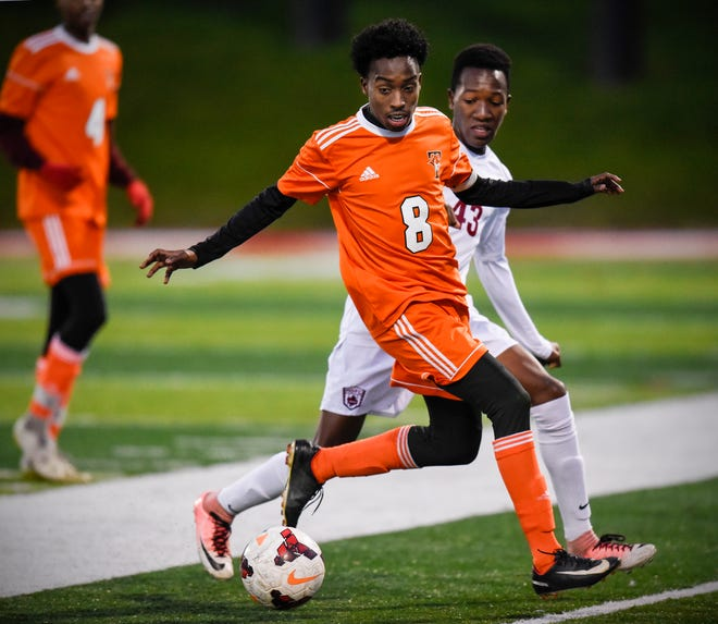 Tech's Abdalla Hassan concentrates on the ball during the first half of the Tuesday, Oct. 16, game at Husky Stadium in St. Cloud.