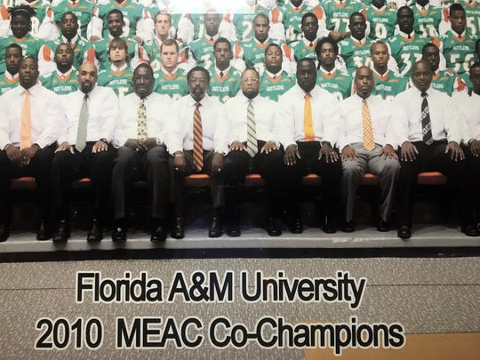 Former FAMU head coach Joe Taylor (fourth from the left) was enshrined in the College Football Hall of Fame. His overall career record is 233-97-4. He went 37-20 in five seasons at FAMU.
