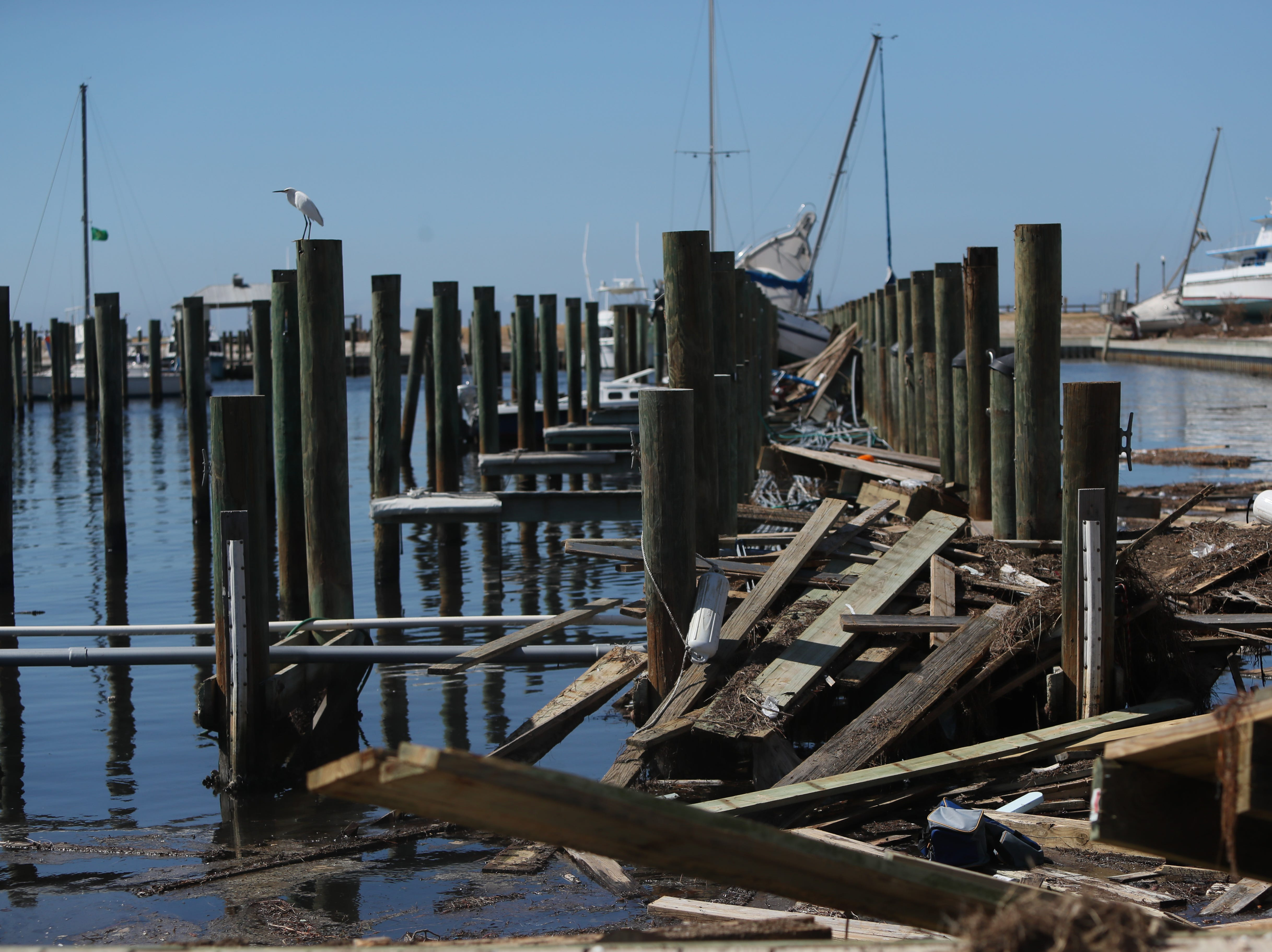 Boats are twisted, docks shattered Tuesday in the Port St. Joe marina after Hurricane Michael blasted the region.