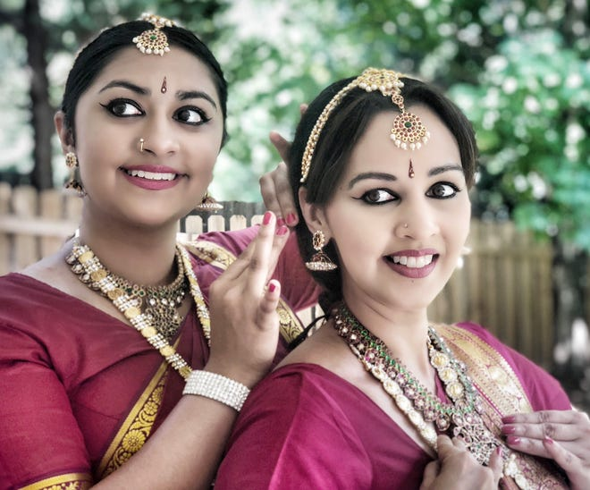Nethra Valli Shah, left, and Preeti Vinayak perform 'The Curious Curators' Saturday night in Opperman Music Hall.