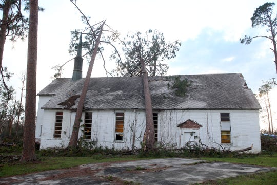 A church off of Highway 276 in Jackson County, Fla. experienced the power of Hurricane Michael on Tuesday, Oct. 16, 2018.