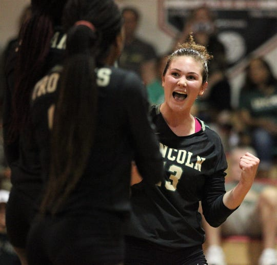 Lincoln senior Loren Scott reacts to scoring a point, but Chiles beat Lincoln 3-0 in a District 2-8A semifinal on Tuesday at Leon.
