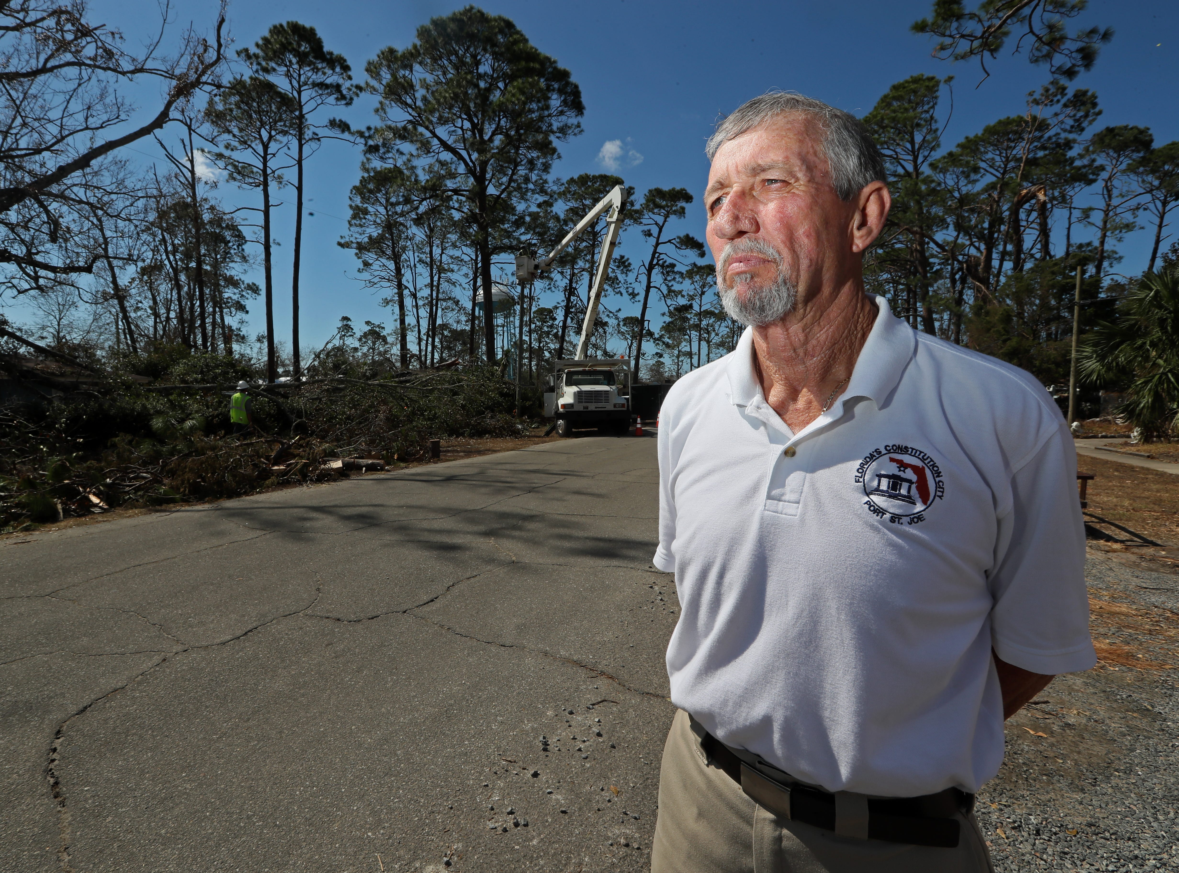 Mayor Bo Patterson stands outside of his Port St. Joe home on 10th Street Tuesday, where Hurricane Michael laid a path of destruction as it ripped through the coastal Florida town.