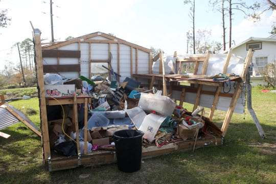 Sally Chambliss' shed was ripped apart by Hurricane Michael in Two Egg, Fla. on Tuesday, Oct. 16, 2018.