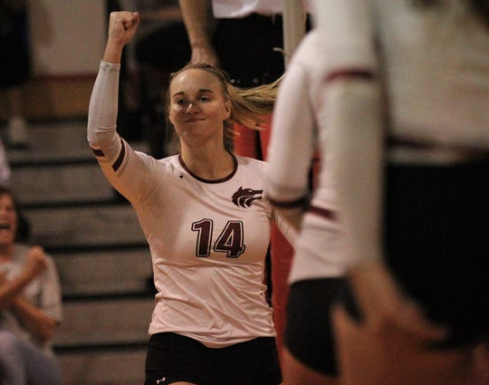 Chiles senior Aly Freeland reacts to scoring a point as the Timberwolves beat Lincoln 3-0 in a District 2-8A semifinal on Tuesday at Leon.
