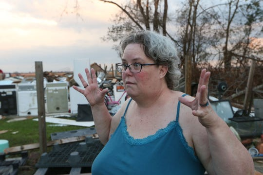 Vanessa Andreasen, a resident of Greenwood, Fla. speaks about the impact Hurricane Michael had on her on Tuesday, Oct. 16, 2018.