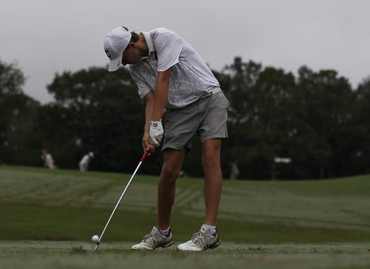 Chiles freshman Parker Bell hits a tee shot during the District 1-3A boys golf tournament at Hilaman Golf Course.