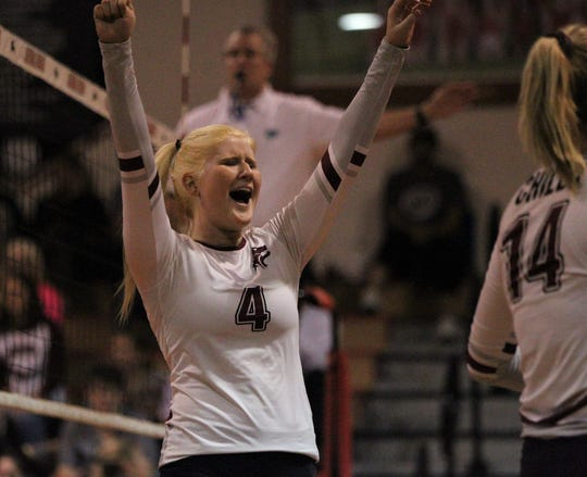 Chiles senior Kyleigh Boyd reacts to a point as the Timberwolves beat Lincoln 3-0 in a District 2-8A semifinal on Tuesday at Leon.