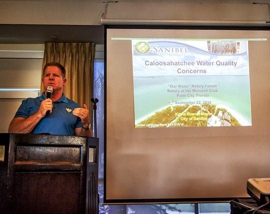 Sanibel Mayor Kevin Ruane at the Stuart Sunrise Rotary Water Forum.