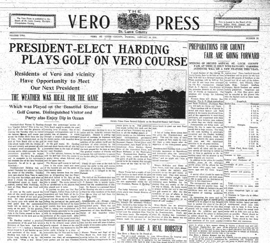 """On January 29, 1921, The Vero Press reports """"President-Elect Harding Plays Golf on Vero Course."""""""