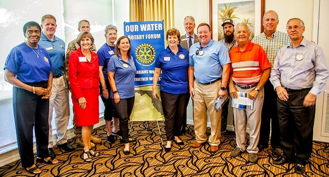 Rotarian Elmira Gainey, left, Sanibel Mayor Kevin Ruane, Rep. Gayle Harrell, Lt. Col Jennifer Reynolds of Army Corps of Engineers, Rotarians Brenda Gerdes, Sue Whittington, Carrie Lavargna, Brandon Tucker of South Florida Water Management District, Rotarian Chris Shoaf, Dan Andrews of Captains for Clean Water, Rotarian Butch Bailey, Martin County Commissioner Ed Campi and Stuart Sunrise Rotary Club President Mike Costopolous at the Stuart Sunrise Rotary Water Forum.