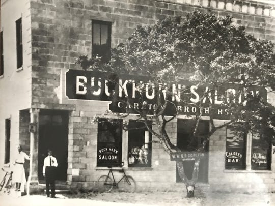 Historical photograph of the former Buckhorn Saloon, now the Raulerson building, in downtown Fort Pierce.