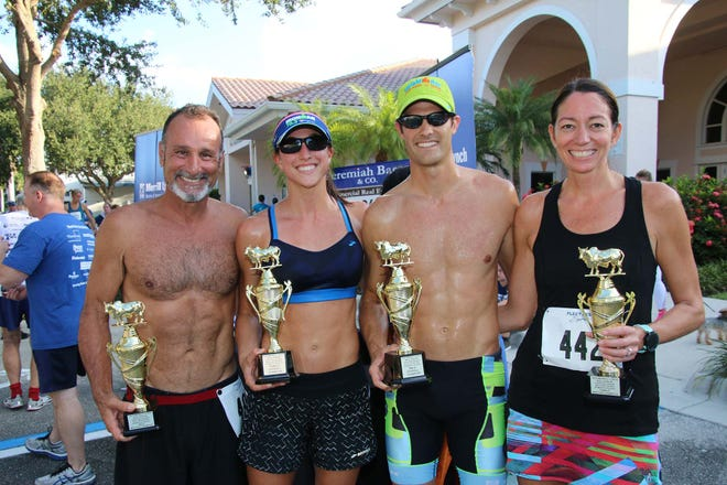 Merrill Lynch Bull Run 5K to Fight Hunger winners: Tom Nisa of Stuart, left, won the top male masters with a time of 20:18.2; Chelsea Hollingsworth of Stuart won the top overall with a time of 18:56.5; Kurt Barnhill of Palm City won the top male finisher with a time of 18:56.7; and Shari McGlynn of Palm City won the top female masters with a time of 24:04.7.