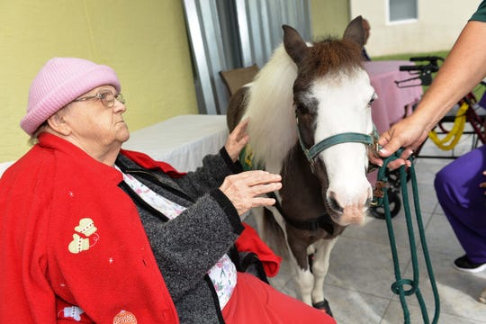 Hospice patient Beverly Shepard meets Banks, a therapy horse, in the back yard of the Sunny Days Assisted Living Facility in Port St. Lucie.