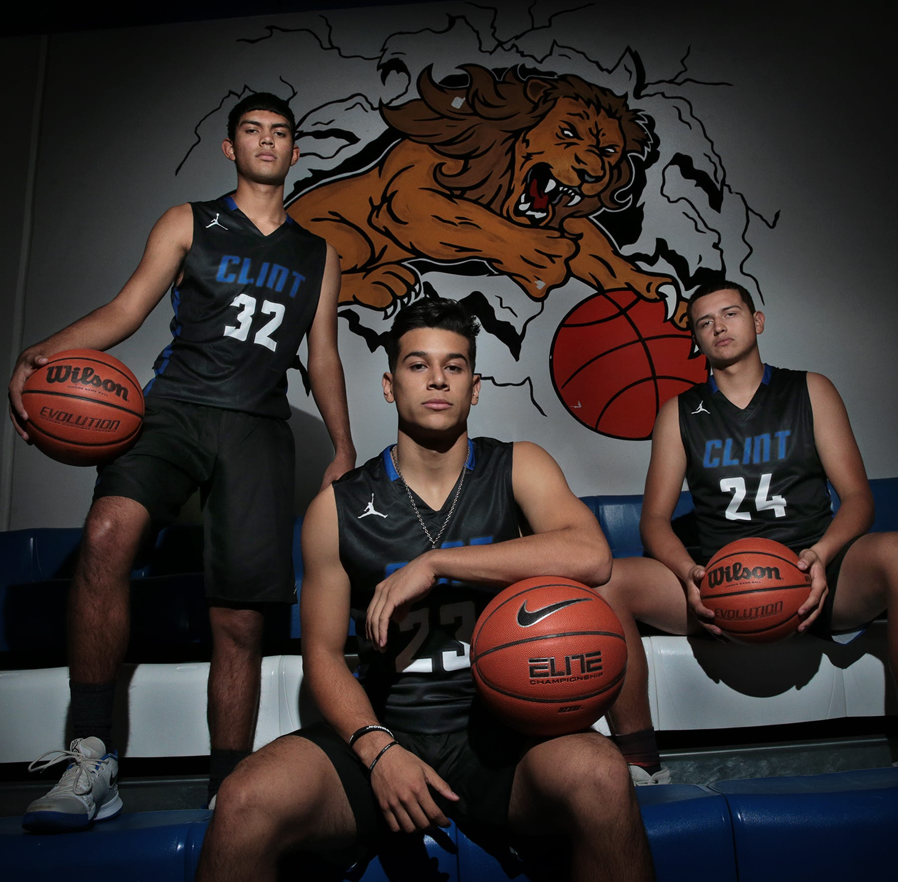 Christian Pineda, left, Jonathan Garcia, center, and Marcus Juarez lead the Clint Lions into the 2018-19 basketball season.
