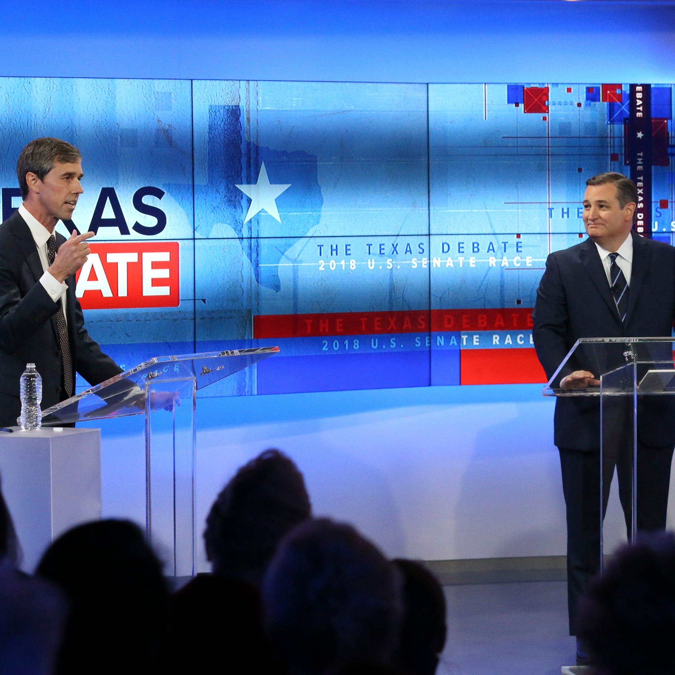 U.S. Rep. Beto O'Rourke, D-El Paso, left, and U.S. Sen. Ted Cruz, R-Texas, take part in a debate for the Texas U.S. Senate, Tuesday, Oct. 16, 2018, in San Antonio.