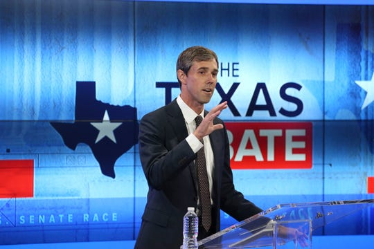U.S. Rep. Beto O'Rourke, D-El Paso, takes part in a debate for a Texas U.S. Senate seat with U.S. Sen. Ted Cruz, R-Texas, on Tuesday, Oct. 16, 2018, in San Antonio.