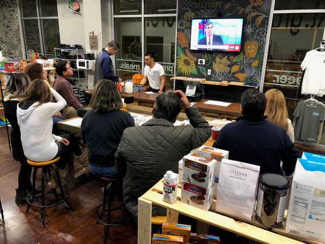 A small group of about thirty Beto O'Rourke supporters attended the watch party held at the Mrkt at Montecillo Groceries, Tuesday night for the second debate between Senator Ted Cruz and Congressman Beto O'Rourke which was held in San Antonio, Texas.