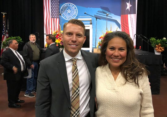 Former County Judge Veronica Escobar stands with current County Judge Ruben John Vogt after he gave his first and only State of the County address Wednesday afternoon at the El Paso convention center. Vogt spoke about his time as county judge and the accomplishments he's been able to make during his short time in office.