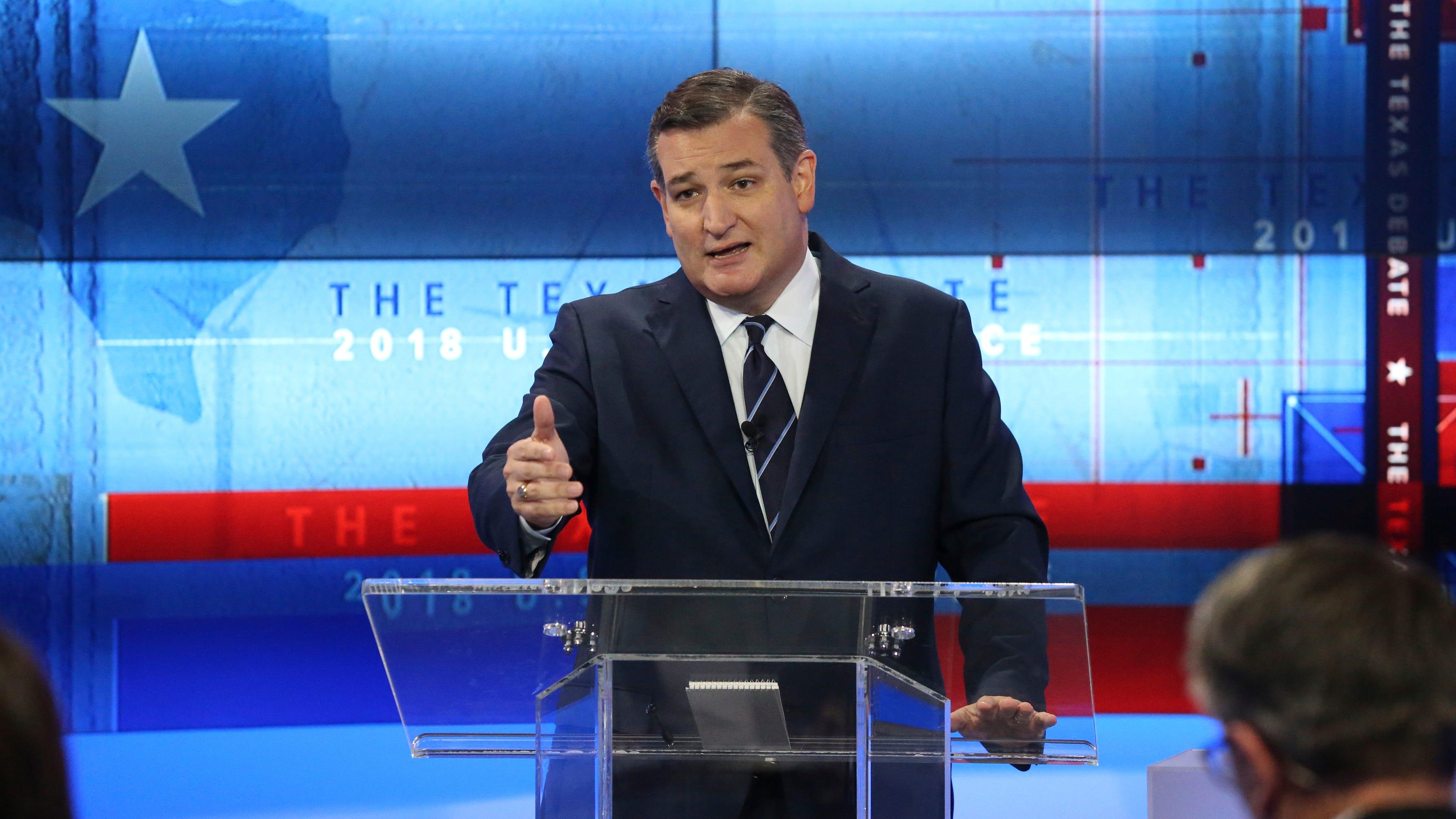 U.S. Sen. Ted Cruz, R-Texas, takes part in a debate for a Texas U.S. Senate seat with U.S. Rep. Beto O'Rourke, D-El Paso, on Tuesday, Oct. 16, 2018, in San Antonio.