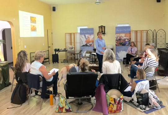 Healer Margrit Coates leads a workshop on energy healing and communicating with companion animals at Healing in America in Ojai.