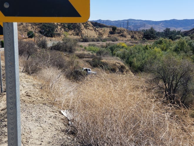 A truck went off Tapo Canyon Road in Simi Valley Wednesday afternoon, crashing and killing the driver.