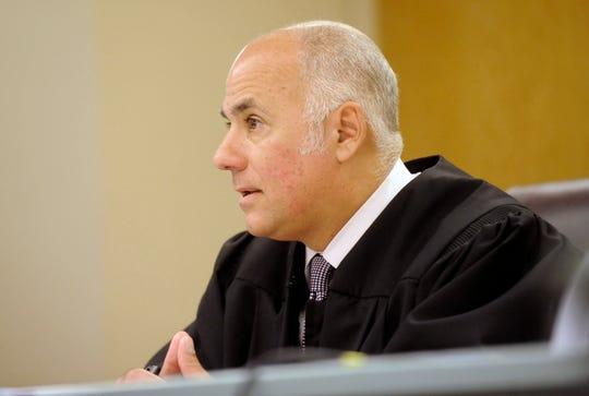 Cumberland County Superior Court Judge Michael Silvanio presides over court proceedings for Isaias Garza in Bridgeton on Wednesday, October 17, 2018.