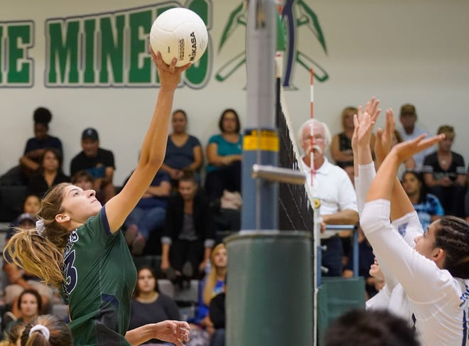 El Diamante's Preslee Nunez dinks the ball over the block of Redwood during a West Yosemite League high school volleyball match between Redwood and El Diamante