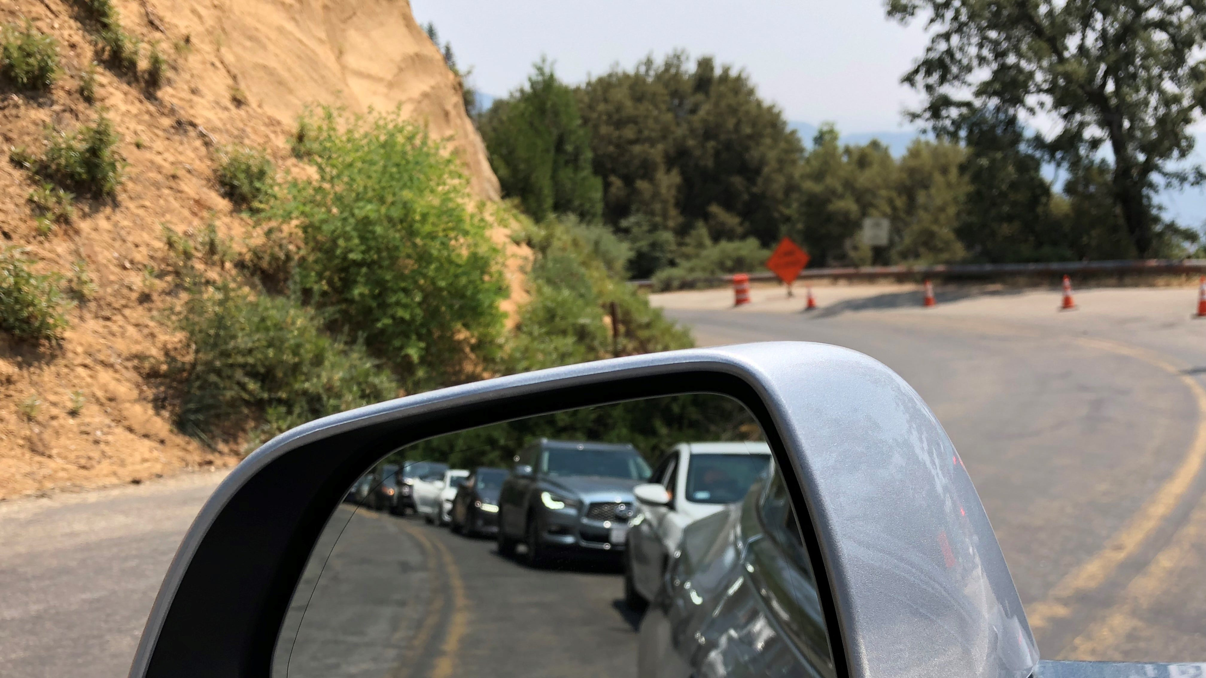 Sequoia National Park visitors wait for road construction to clear inside the park.