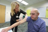 Montefiore Nyack Hospital and the Rockland County Dept. of Health administer free flu shots at the Pascack Community Center in Nanuet Oct. 17, 2018.