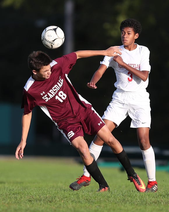 Scarsdale's Adam Wassermann (18) and North Rockland's Ben Avila (3) battle for ball control  during boys soccer action at Quaker Ridge School in Scarsdale Oct. 16, 2018. Scarsdale won the game 3-0.