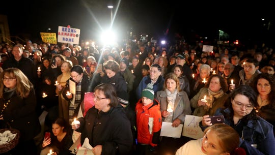 Several hundred people attend a rally at Bet Torah synagogue in Mount Kisco Oct.16, 2018 in support of long time temple custodian Armando Rojas. Rojas, who has lived in this country for thirty years, and worked at the temple for 20 years, has been detained by ICE and faces deportation to Mexico.