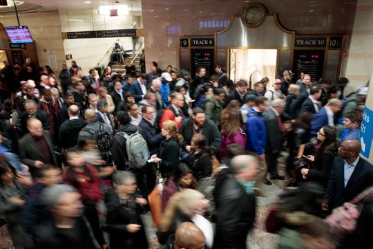 NEW YORK, NY - APRIL 4: Evening commuters make their way toward a New Jersey Transit train platform at Penn Station April 4, 2017 in New York City.  MetroNorth commuters are limited now to Grand Central for access to New Haven line. (Photo by Drew Angerer/Getty Images)