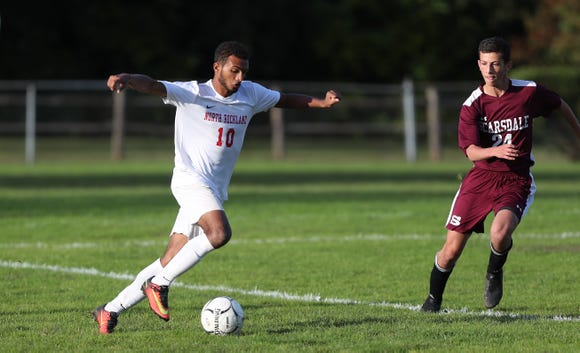 North Rockland's Kenji Harper (10) moves the ball against Scarsdale during soccer action at Quaker Ridge School in Scarsdale Oct. 16, 2018. Scarsdale won the game 3-0.
